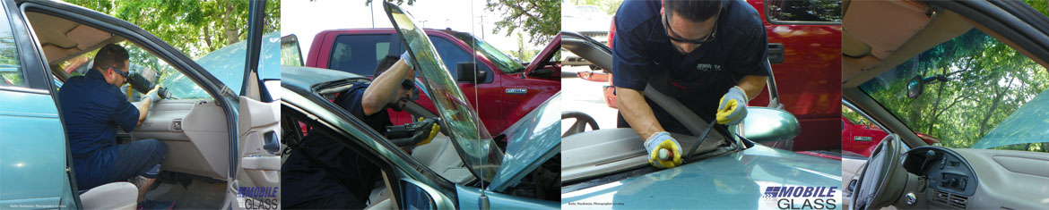 Mobile Glass technician working hard to replace a windshield -collage of pics