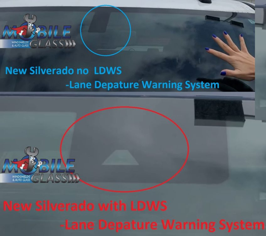 This shows the difference between 2014-2018 Silverados with or without a forward facing camera for Lane Departure Warning/Forward Collision Alert